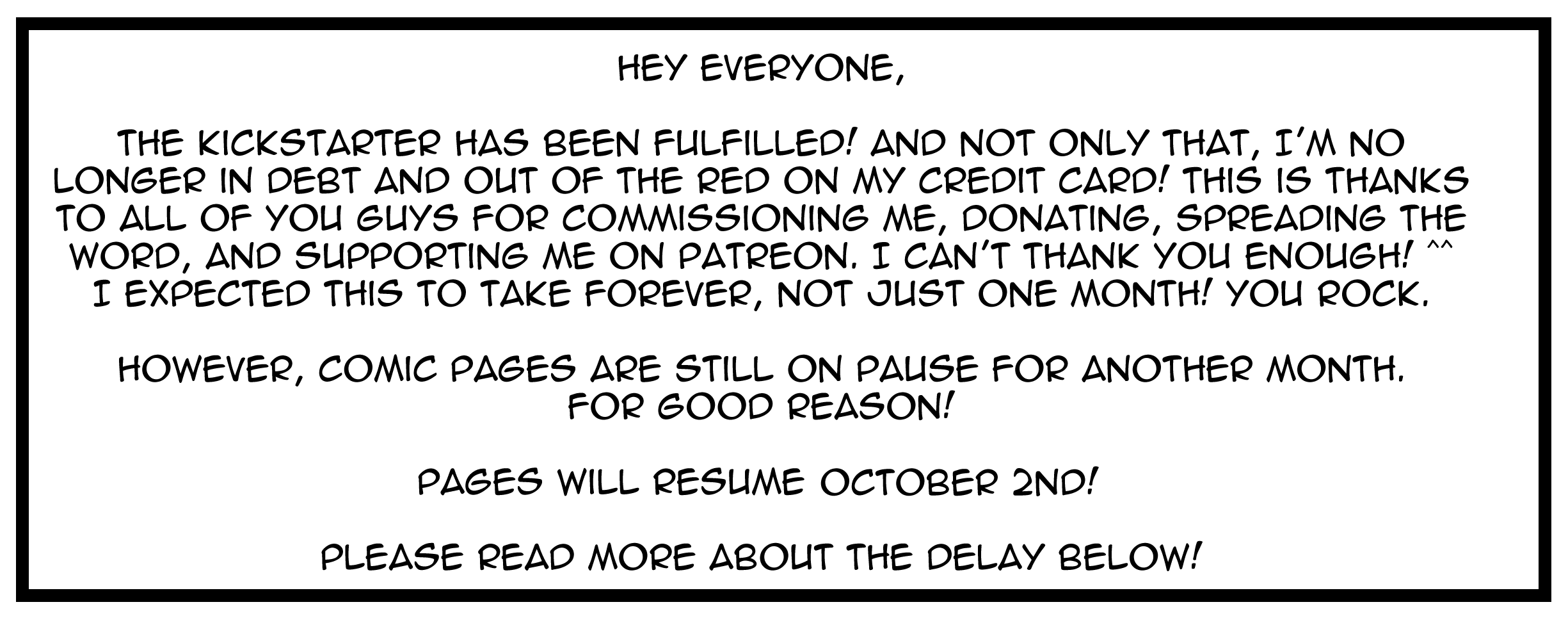 Star Warriors will resume page updates on October 2nd!